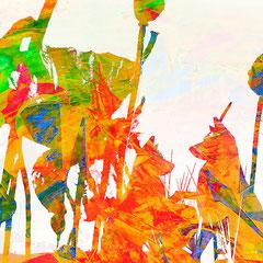 """""""die Mäuse sehnen den Frühling herbei""""    2014, digitale Kombination aus Acrylwerk und Fotografie"""