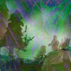 """""""als die Mäuse im Wald Herrn Thorsten das Weihnachtsgebäck wegmampften""""   2013, digitale Kombination aus Acrylwerk und Fotografie"""