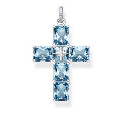 PE880-644-1 | Anhänger Kreuz große blaue Steine mit Stern aus geschwärztem 925er Sterlingsilber • Bravouröse Sternen-Verzierung im Zentrum • Symbolischer Kettenanhänger mit synthetischen Spinellen im Oktagon-Schliff