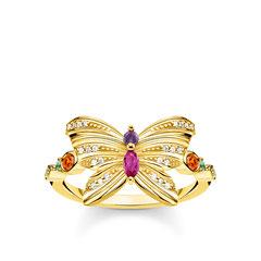 TR2285-488-7 | Damenring Schmetterling aus 925er Sterlingsilber • Hochwertiger Schmuck mit 750er Gelbgold-Vergoldung und funkelndem Dekor aus bunten Steinen • Ring für Damen in verschiedenen Größen