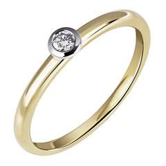 """1-03584-51-0089 """"Brillantring Verliebt Verlobt"""" 585/- Gold Brillant 0,07 ct SI H"""