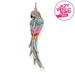 PE802-340-7 | Anhänger Papagei - Tropisch-mystisches Statement - Kunstvolle, dreidimensionale Gestaltung - Handwerkliche Perfektion