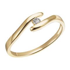 """1-05160-51-0089 """"Brillantring Verliebt Verlobt"""" 585/- Gold Brillant 0,05 ct SI H"""