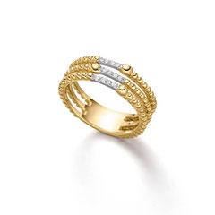 Ring, 585/- Gelb- und Weißgold mit Brill. 0,072 ct. W/SI Verspielter Brillant-Ring Detailreich verziert sind die drei Schienen, die diesen Ring aus Gelb- und Weißgold bilden: mal mit goldenen Kügelchen, mal mit weißen Brillanten.
