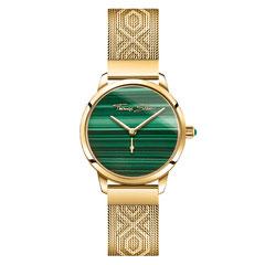 WA0365-264-211   |   Thomas Sabo - Damenuhr Garden Spirit Malachit gold  Uhr mit grünem Zifferblatt: Der echte Malachit-Stein ist mit seiner einzigartigen Maserung das Highlight dieser goldfarbenen Armbanduhr für Damen.