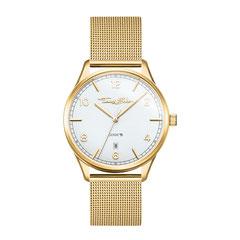 WA0361-264-202   |   Thomas Sabo  - Damenuhr Code TS klein gelbgold  Goldene Uhr mit weißem Zifferblatt: Die CODE TS Damenuhr mit 3-Zeiger-Quarzwerk und Datumsanzeige sowie feingliederigem Milanaise-Armband ist ein klassischer Begleiter für jeden...