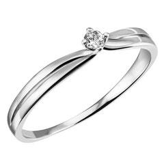 """1-05163-52-0089 """"Brillantring Verliebt Verlobt"""" 585/- Gold Brillant 0,05 ct SI H"""