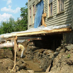 Foundation reconstruction, 1820-era farmhouse, Aurora, Ohio