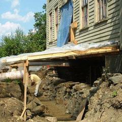 Foundation reconstruction, 1820-era farmhouse, Aurora, Ohio