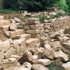 Dry stone retaining wall, new construction, private client, Medina County, OH