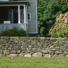 Dry stone wall restoration, 1840-era wall, Akron, Ohio
