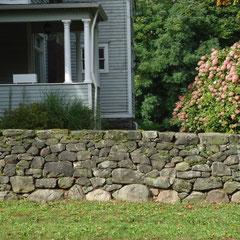 Dry stone wall restoration, 1840-era wall, Akron, Ohio
