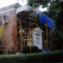 Repointing and paint stripping, 1850-era Carroll Cutler House, Western Reserve Academy, Hudson, OH