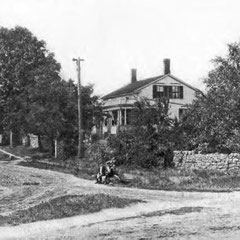Ca. 1890 view of John Brown House & stone wall, Akron, Ohio