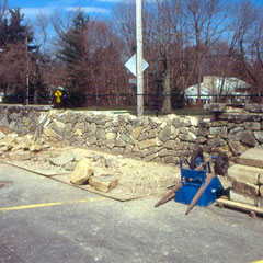 Restoration of dry stone wall damaged by automobile, Stan Hywet Hall and Gardens, Akron, OH