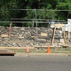 Dry stone wall restoration, 1840-era wall on the historic Perkins Estate, Summit County Historical Society, Akron, OH.