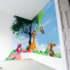 Iden für die gestalung eines kinderzimmers als geschenkidee Airbrush Bilder auf die Betonwand