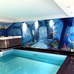 Schwimmbadgestaltung Illusionsmalerei für Hotel und Wellness