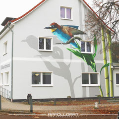 Illusionsmalerei an der Fassade in 3d