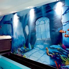 Wand und Fassadenkunst kann man buchen .Wandmalerei im Innenraum
