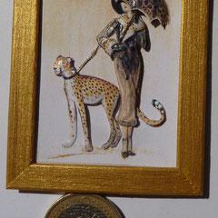 Dama con abrigo y leopardo. 4 láminas 15€