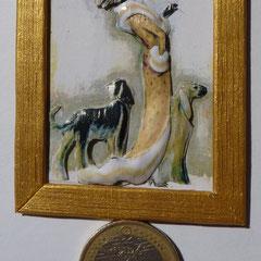Dama con abrigo y perros. 4 láminas 15€