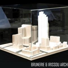 Vitrine en plexi pour maquette projet urbain Dubaï