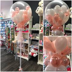 """1) ...mit Helium, Gewicht, Bänder, Dekostoff, ca.30-40 x 5"""" Latexballons mit Helium. Preis: 110,00..€   ( Die Abholung am selben Tag des Ereignisses!) Wichtig! Der Ballon muss innerhalb von 5 Stunden zum platzen gebracht werden."""
