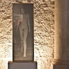 reti metalliche incise a mano e sovrapposte, plexiglass, cornice in legno. 50x140x15. 2012