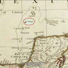 """Sur cette carte ancienne, on voit bien l'île de """"La Vermeja"""""""