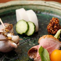 酒肴 肴 鴨 つぶ貝 板わさ 蕎麦味噌 つまみ 盛り合わせ