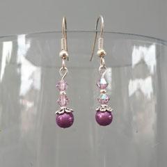 Boucles d'oreilles cristal Light Amethyst et perle magique 5€