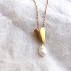 Collier coeur doré perle - Céline Flageul