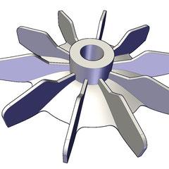 Ventiladores de aluminio para motor electrico barrenado a la medida