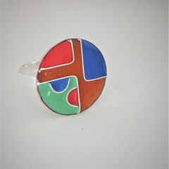 Bague diamètre 1.5 cm émail sur cuivre, monture argent 25 €