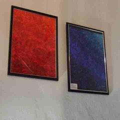 """Vernissage Vinothek Wangenrot 2012, """"5 Elements - Feuer"""" und """"5 Elements - Water"""" (Acryl auf Papier)"""