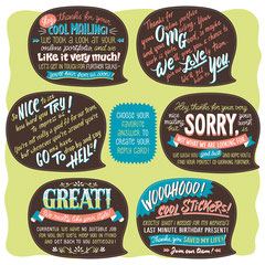 Sticker sheet with answers in speech bubbles to create the reply card