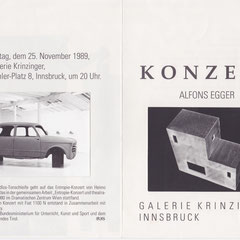 Alfons Egger KONZERT Galerie Krinzinger Einladung  1989
