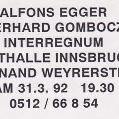Alfons Egger interregnum Sgraffito 1992 Einladung
