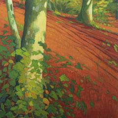 Juntos, como los árboles. 130 x 60 cm. Acrílico sobre lienzo.