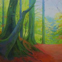 Luz vista desde el bosque. Acrílico sobre lienzo. 130 x 89,5 cm.