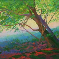 Sunset in the forest. Acrylic on canvas. 100 x 50 cm.