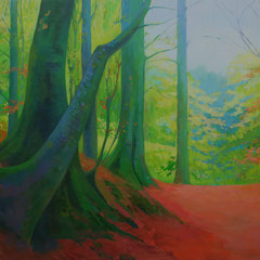 Light seen from the forest. Jelling.130 x 89,5 cm. Acrylic on canvas.