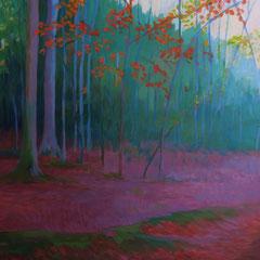 Las hojas rojas. Acrílico sobre papel. 50 x 65 cm.