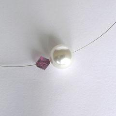 Collier PUR lila/weiß