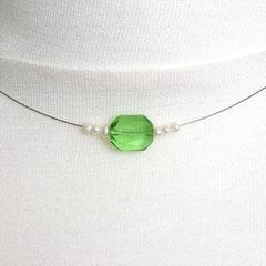 Collier mit grüntransparenter Perle & Süßwasserperlen (Ansicht 2)