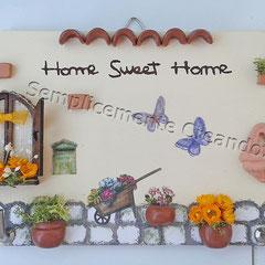 "n. 25 Targhetta ""Home Sweet Home""  in legno (cm 18 x 9) decoupage/fimo/miniature"