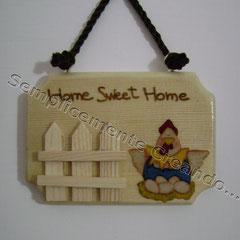 """n. 22 Targhetta """"Home Sweet Home""""  in legno (cm 10 x 7 x 1)"""