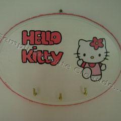 """n. 23 Targhetta  """"Hello Kitty""""  in legno con appendini (cm 18 x 13 x 1,5)"""
