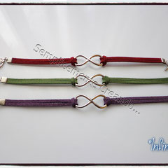 "BR.AL_004_005_006 Bracciali ""Pandora Style"" - ""Infinity"" in alcantara, nei colori bordò, verde e viola"